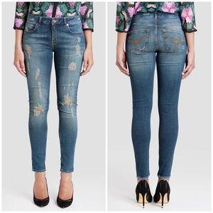 Ted Baker Brixham Distressed Skinny Mid Wash Jeans